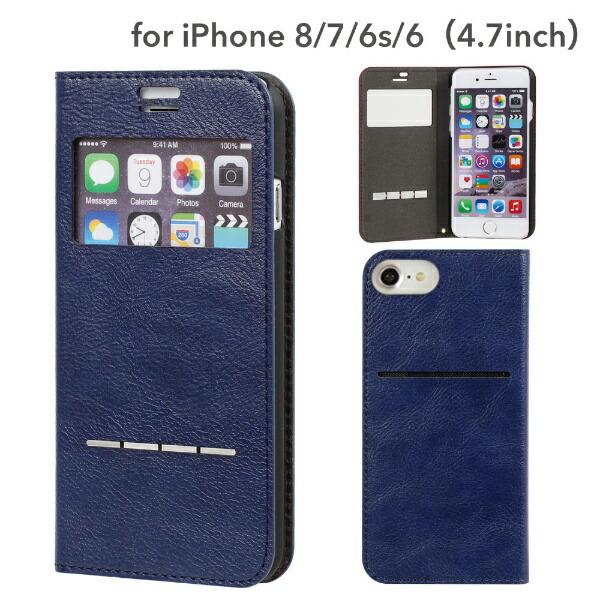 HAMEEハミィiPhoneSE(第2世代)4.7インチ/iPhone8/7/6s/6専用CERTAFLIPケルタフリップ窓付きダイアリーケース(ネイビー)276-848487