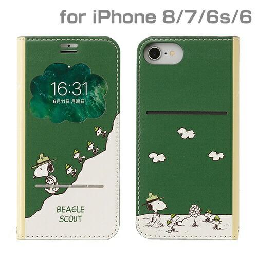 HAMEEハミィiPhoneSE(第2世代)4.7インチ/iPhone8/7/6s/6専用PEANUTS/ピーナッツ/フリップ窓付きダイアリーケース276-895221ビーグルスカウト/グリーン