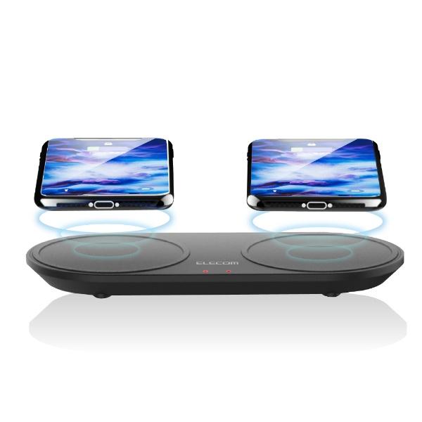 エレコムELECOMワイヤレス充電器Qi対応5W+5W2台同時充電卓上タイプW-QA05BKブラック[USB給電対応/ワイヤレスのみ][WQA05BK]