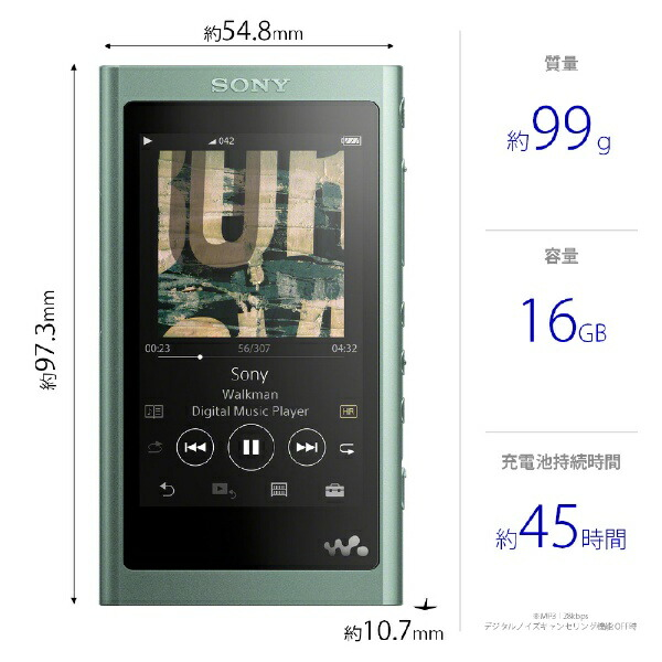 ソニーSONYウォークマンWALKMAN2018年モデルNW-A55GMAシリーズホライズングリーン[16GB/ハイレゾ対応][ウォークマン本体NWA55GM]