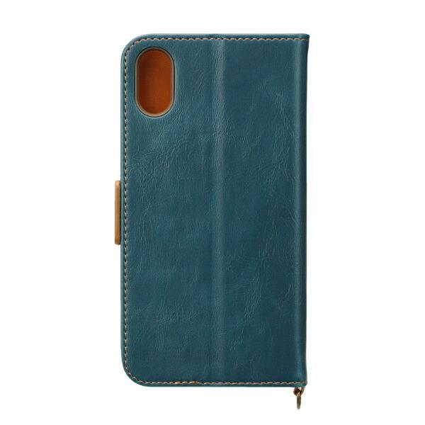 PGAiPhoneXS5.8インチ用フリップカバーPUレザーダメージ加工ブルーPG-18XFP02BLブルー