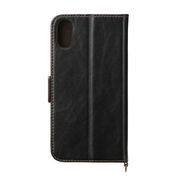 PGAiPhoneXS5.8インチ用フリップカバーPUレザーダメージ加工ブラックPG-18XFP03BKブラック
