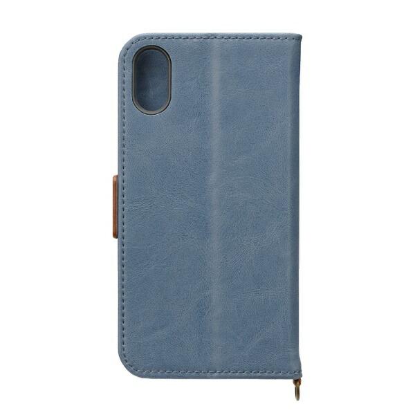 PGAiPhoneXS5.8インチ用フリップカバーPUレザーダメージ加工ブルーグレーPG-18XFP07BLブルーグレー