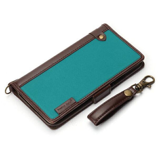 PGAiPhoneXS5.8インチ用フリップカバーナイロン生地PG-18XFP23BLブルーグリーン