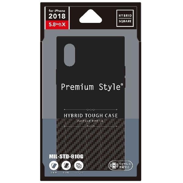 PGAiPhoneXS5.8インチ用ハイブリッドタフケースカーボン調ブラックPG-18XHB01BKカーボン調ブラック