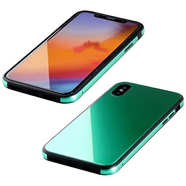 I-ODATAアイ・オー・データ【ビックカメラグループオリジナル】iPhoneXS5.8インチ用ガラス+TPU+アルミ複合素材ケースエメラルドグリーンBKS-IP18STGGAGN