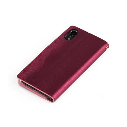 ROAロアiPhoneXR6.1インチ用CALFDiaryワインピンク