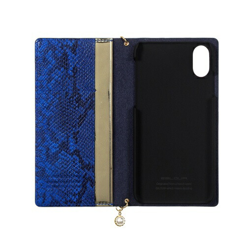 ROAロアiPhoneXS5.8インチ用GoldtrimWalletブルー