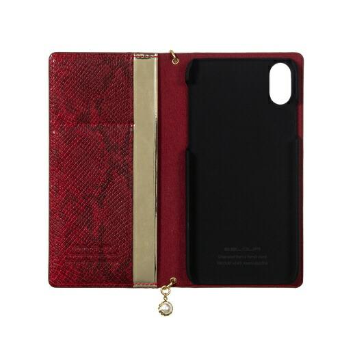 ROAロアiPhoneXS5.8インチ用GoldtrimWalletレッド