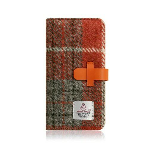 ROAロアiPhoneXR6.1HarrisTweedDiaryオレンジ×グレー