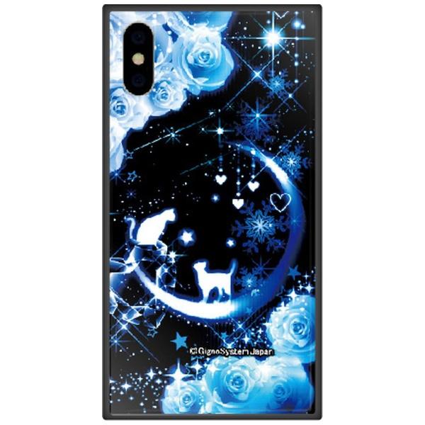 藤家FujiyaiPhoneXSMax6.5インチ用幻想デザインガラスハイブリッドD.猫とブルームーン