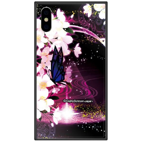 藤家FujiyaiPhoneXSMax6.5インチ用幻想デザインガラスハイブリッドE.蝶と桜