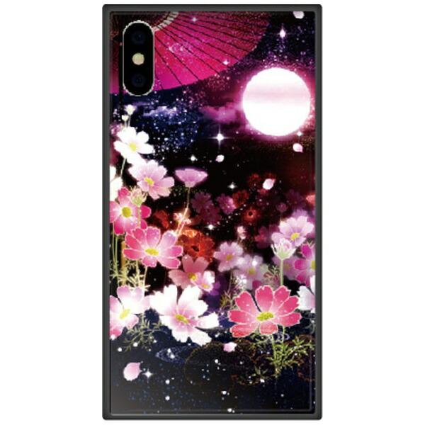 藤家FujiyaiPhoneXSMax6.5インチ用幻想デザインガラスハイブリッドL.月夜の秋桜
