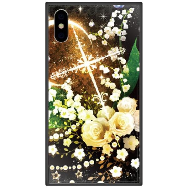 藤家FujiyaiPhoneXSMax6.5インチ用幻想デザインガラスハイブリッドO.白薔薇クロス