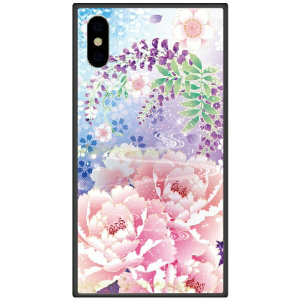 藤家FujiyaiPhoneXSMax6.5インチ用幻想デザインガラスハイブリッドQ.明彩花吹雪