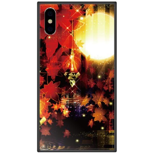 藤家FujiyaiPhoneXSMax6.5インチ用幻想デザインガラスハイブリッドR.満月と紅葉