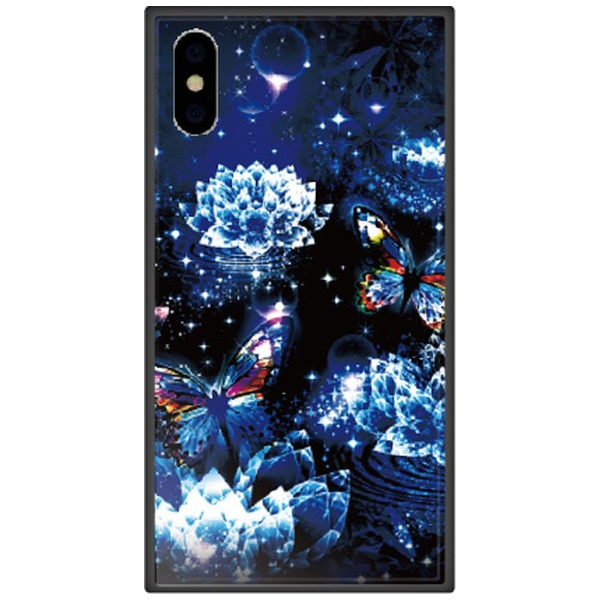 藤家FujiyaiPhoneXSMax6.5インチ用幻想デザインガラスハイブリッドV.クリスタルロータスと蝶(