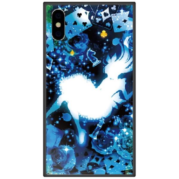 藤家FujiyaiPhoneXSMax6.5インチ用幻想デザインガラスハイブリッドW.クリスタルブルーアリス