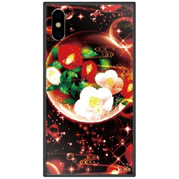 藤家FujiyaiPhoneXSMax6.5インチ用幻想デザインガラスハイブリッドY.泡沫幻想_椿