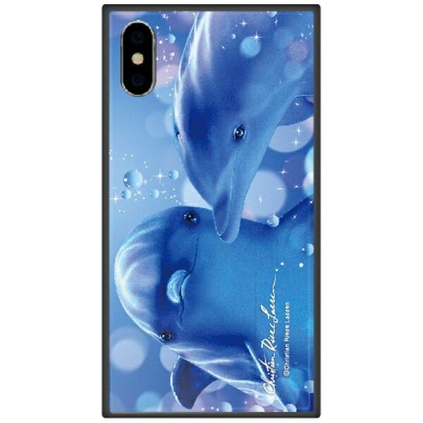 藤家FujiyaiPhoneXSMax6.5インチ用ラッセンガラスハイブリッドB.KISSINGDOLPHINS