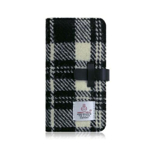 ROAロアiPhoneXSMax6.5インチ用HarrisTweedDiaryホワイト×ブラック