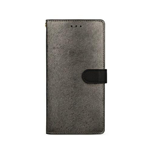 ROAロアiPhoneXSMax6.5インチ用CALFDiaryメタルブラック