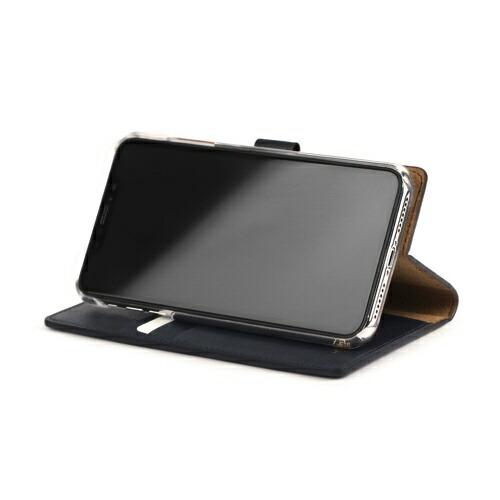 ROAロアiPhoneXSMax6.5インチ用CALFDiaryネイビーブルー