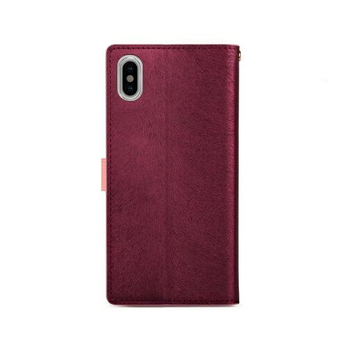 ROAロアiPhoneXSMax6.5インチ用CALFDiaryワインピンク