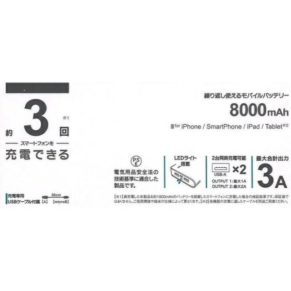 ラスタバナナRastaBananaタブレット/スマートフォン対応[microUSB/USB給電]USBモバイルバッテリー+microUSBケーブル(2A/1A)ホワイトRLI080M2A01WH[8000mAh/2ポート/充電タイプ]