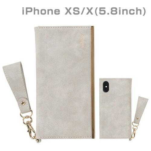 HAMEEハミィ[iPhoneXS/X専用]salisty(サリスティ)Qスエードスタイルダイアリーケース(ペールグレー)Q-DC001G276-901007
