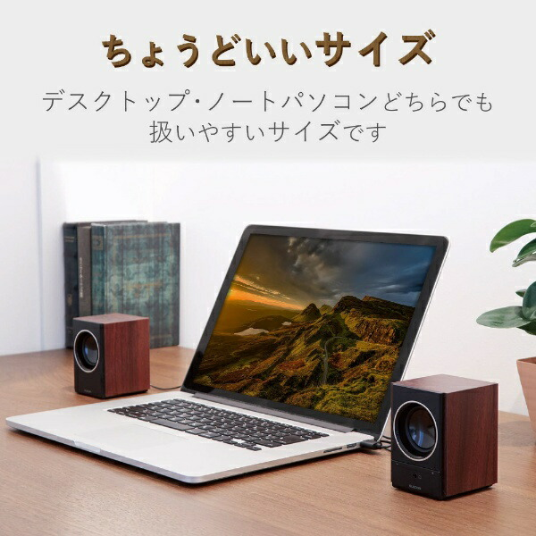エレコムELECOMMS-W13UXBKPCスピーカー[USB電源/2.0ch][アンプ内蔵スピーカー]