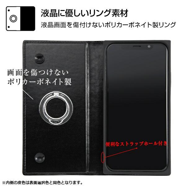 イングレムIngremiPhoneXS/X手帳型耐衝撃レザーケースKAKUリング付360ピタッとカバー/ブラック/ブラックIN-P20KBC1/BBブラック
