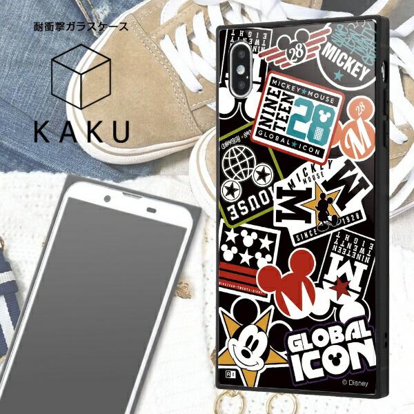 イングレムIngremiPhoneXSMax/『ディズニーキャラクター』/耐衝撃ガラスケースKAKU/『Collage/ブラック』IQ-DP19K1B/MK002