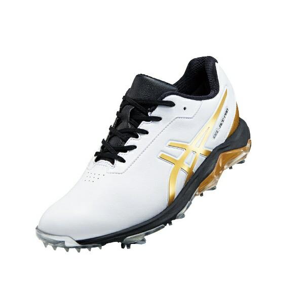 ダンロップ(アシックス)26.5cmメンズゴルフシューズGEL-ACEPRO4(ホワイト×リッチゴールド)1113A013