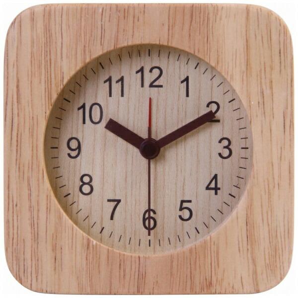 不二貿易FujiBoeki目覚まし時計ウッドスクエアナチュラル36696