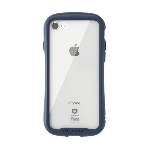 HAMEEハミィiPhoneSE(第2世代)4.7インチ/iPhone8/7専用iFaceReflectionハイブリッドガラスケース(ネイビー)41-907122
