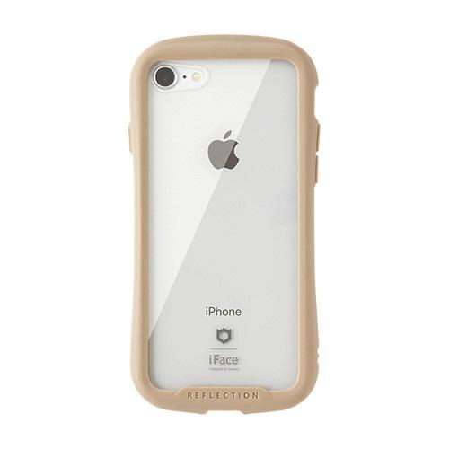 HAMEEハミィiPhoneSE(第2世代)4.7インチ/iPhone8/7専用iFaceReflectionハイブリッドガラスケース(ベージュ)41-907146