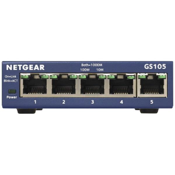 NETGEARネットギアスイッチングハブGS105[5ポート/Gigabit対応/ACアダプタ]アンマネージスイッチGS105-500JPS