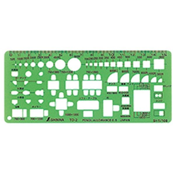 シンワ測定ShinwaRulesシンワ測定テンプレート記号定規TD2家具定規小A764-66008
