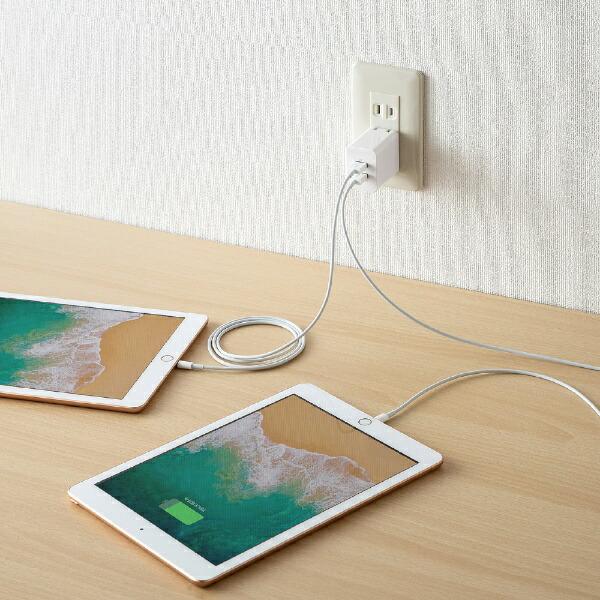 サンワサプライSANWASUPPLYスマホ用USB充電コンセントアダプタ(2ポート・合計4.8A)ACA-IP63W