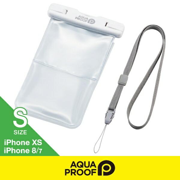エレコムELECOMスマートフォン用防水・防塵ケースプラスチック蓋ポケット付SサイズホワイトP-WPSK01WH