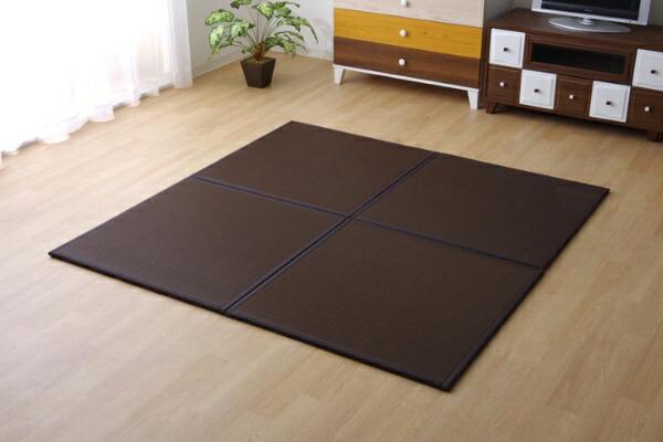 イケヒコIKEHIKOユニット畳スカッシュBRU畳9枚セット(日本製/82×82×1.7cm/連結ジョイント付き)