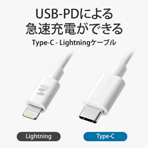 サンワサプライSANWASUPPLYライトニング-TypeCケーブル1mKB-IPLC10W[KBIPLC10W]