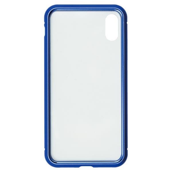 ナチュラルデザインNATURALdesigniPhoneXS/X専用背面繊維ガラス×アルミバンパーケースBlueiP18_58-MBP03
