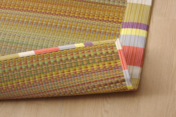 イケヒコIKEHIKOい草ラグ国産ラグカーペット約2畳正方形『いろは』オレンジ