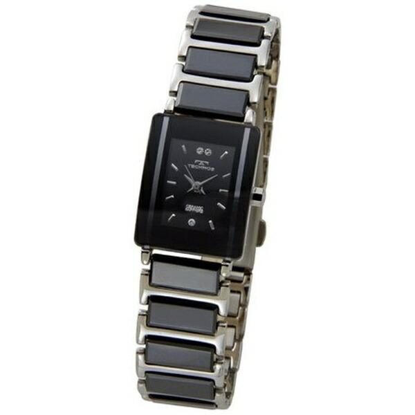 テクノスTechnosレディース腕時計セラミックTSL906TBブラック×シルバー