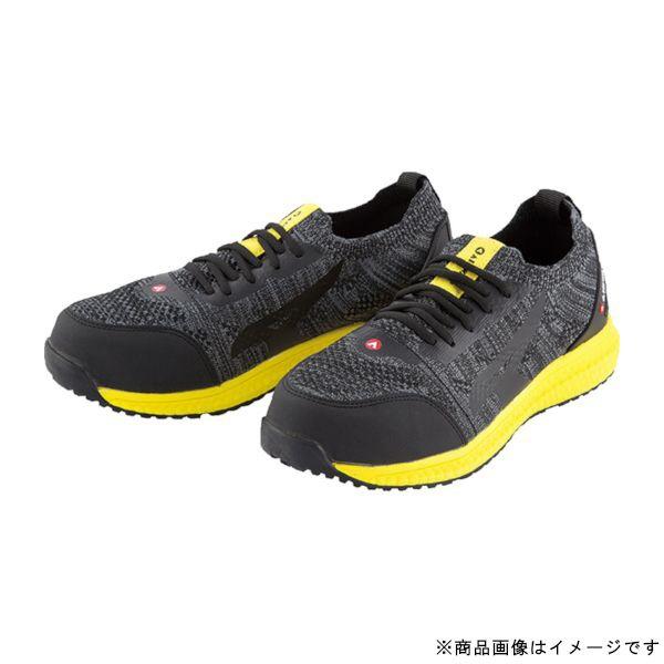 ユニワールドuniWORLDAW-720-255AIRWALKニットフィット安全靴25.5cmブラック/イエロー