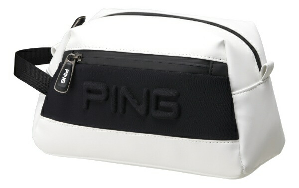 ピンPINGラウンドポーチ(W24×H16×D12cm/ホワイト/ブラック)GB-C193