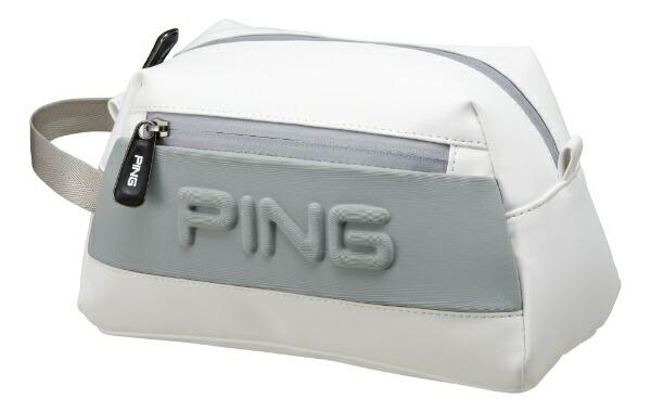ピンPINGラウンドポーチ(W24×H16×D12cm/ホワイト/グレイ)GB-C193
