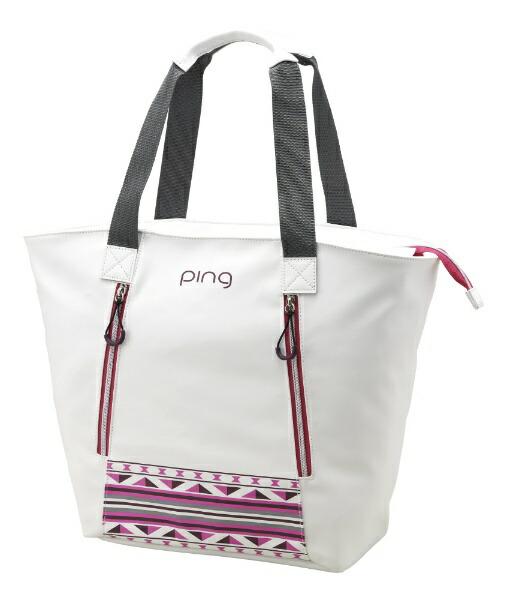 ピンPINGトートバッグ(W58×H36×D18cm/ホワイト/ピンク)GB-L191